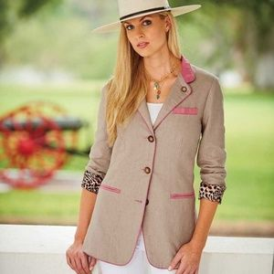 New Tasha Polizzi KING RANCH Linen Riding Blazer M